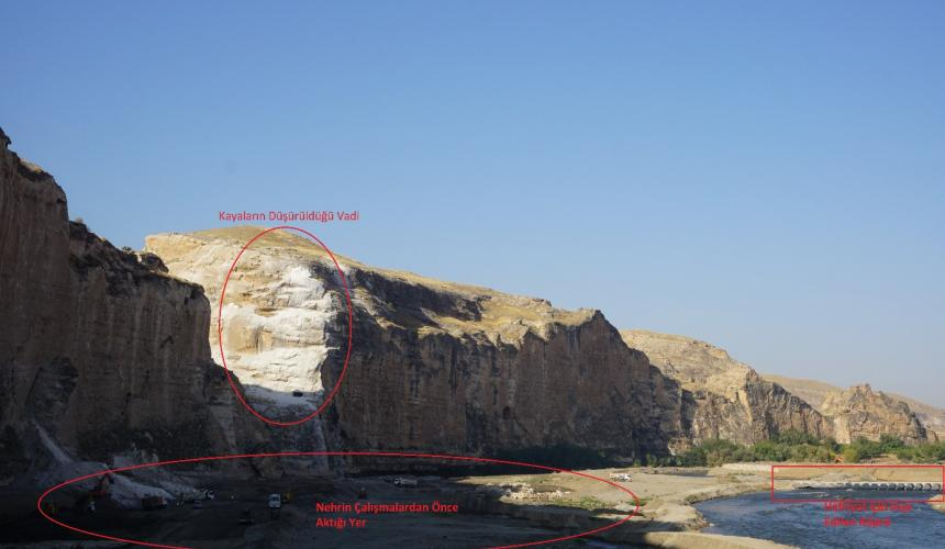 Destruction in process: collapsing of vulnerable portions of the cliffs ringing the historic town and filling of some 200 caves © Initiative to Keep Hasankeyf Alive