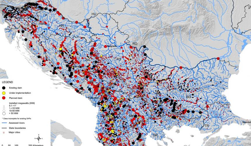 """About 3,000 hydropower plants are projected on the Balkan Peninsula. Their construction would destroy the """"Blue Heart of Europe"""". Source: Fluvius"""