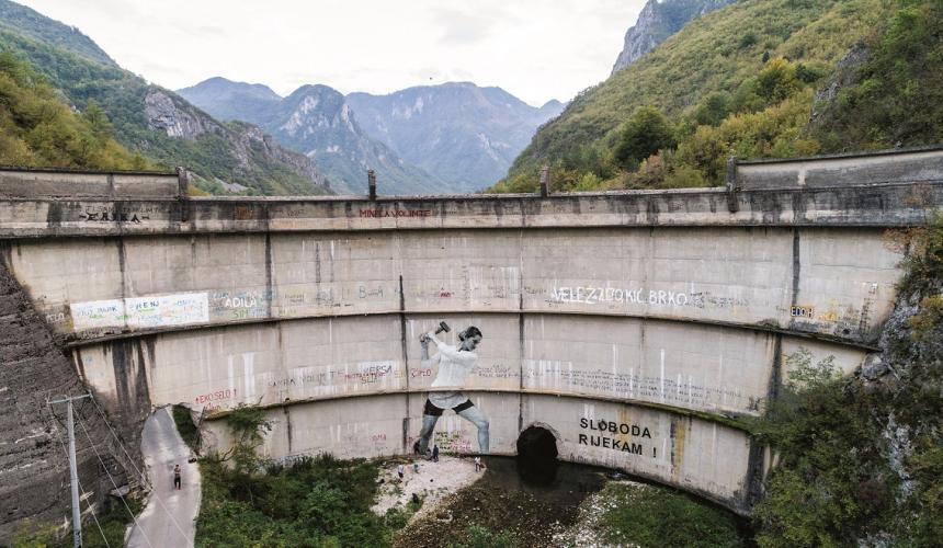 Built in 1959, the Idbar Dam cracked soon after its construction. Investors and construction crews had ignored multiple warnings from the locals not to underestimate the force of the Bašćica, a river known to be unpredictable and fast-flowing. Idbar was decommissioned soon after it was constructed, when the river began fracturing the dam, allowing the Bašćica to flow freely again. Konjic, Bosnia and Herzegovina. © Andrew Burr