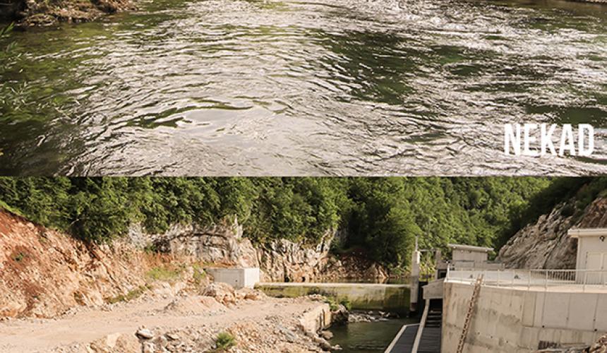 Der Fluss Sana vor und nach dem Bau des Wasserkraftwerks Medna © Viktor Bjelic