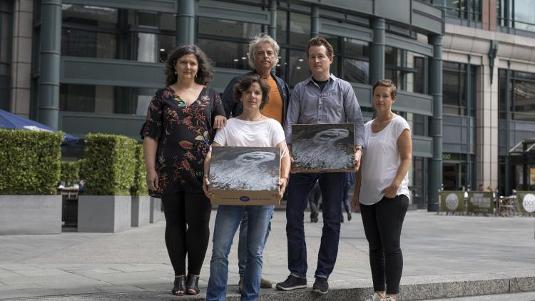 Representatives of the Save the Blue Heart of Europe campaign in front of the EBRD headquarters in London. In their hands: 120.000 signatures. © Jason Alden, Patagonia