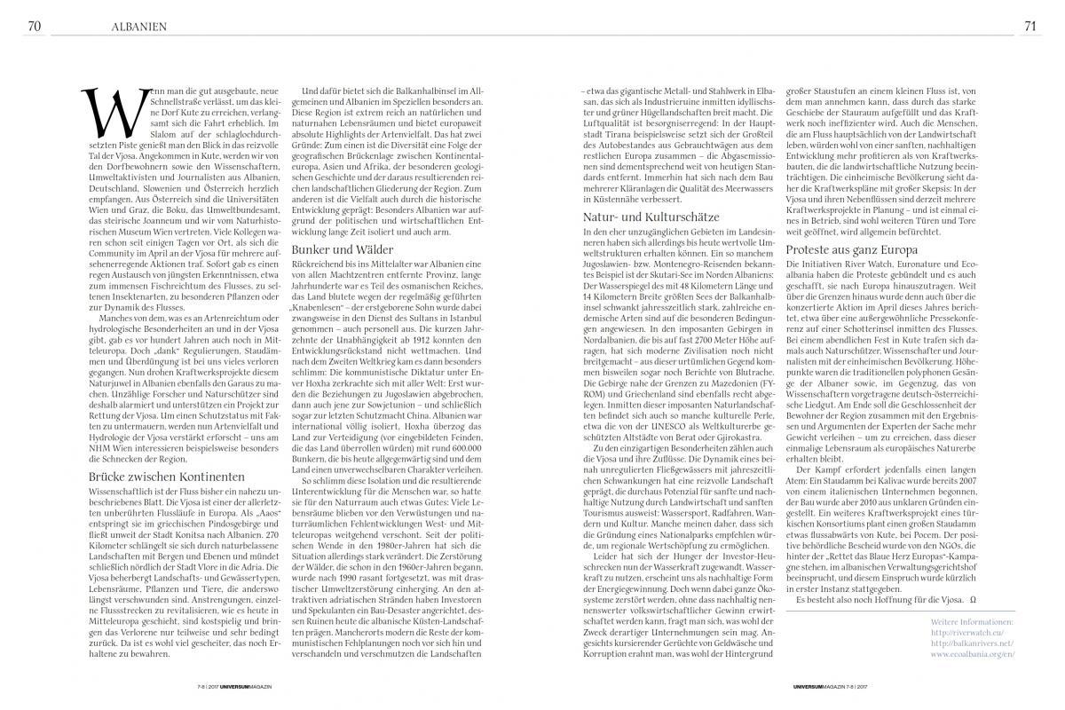 Vjosa Artikel in der Sommerausgabe des Universum Magazins