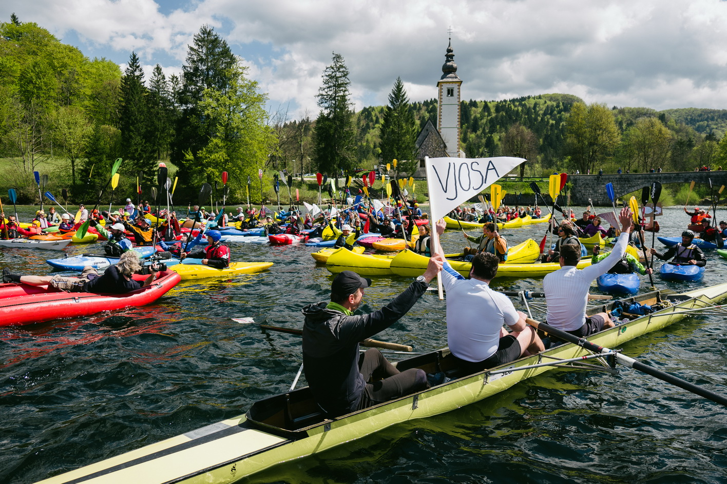 About 150 paddlers opened the Balkan Rivers Tour at Bohinj Lake in Slovenia on Saturday, April 16. © Jan Pirnat